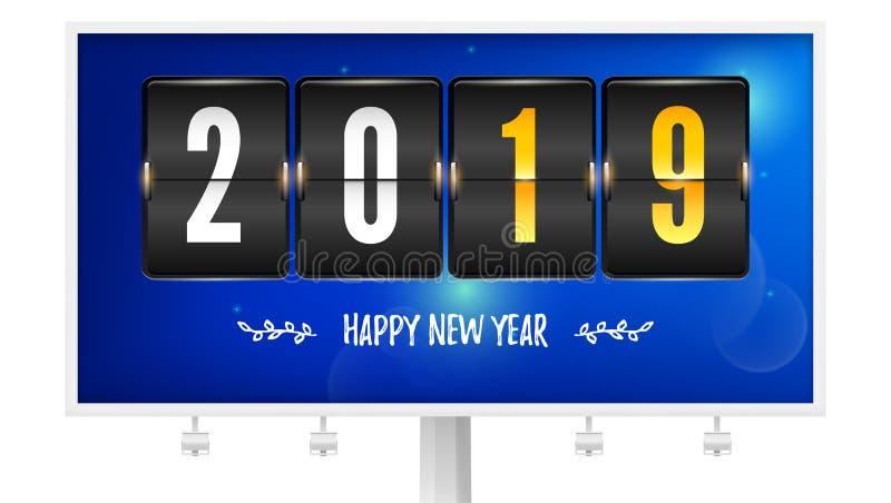 Καλή χρονιά 2019 Χρονόμετρο αντίστροφης μέτρησης κτυπήματος στον πίνακα διαφημίσεων Αριθμός έτους και χειρόγραφου κειμένου Χρονοδ απεικόνιση αποθεμάτων