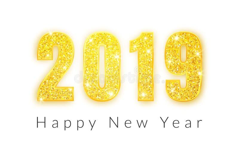 Καλή χρονιά 2019, χρυσό σχέδιο αριθμών της ευχετήριας κάρτας, διανυσματική απεικόνιση απεικόνιση αποθεμάτων