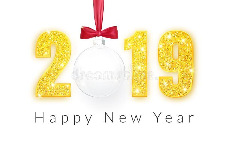 Καλή χρονιά 2019, χρυσό σχέδιο αριθμών της ευχετήριας κάρτας, σφαίρα Χριστουγέννων με το κόκκινο τόξο, διανυσματική απεικόνιση διανυσματική απεικόνιση