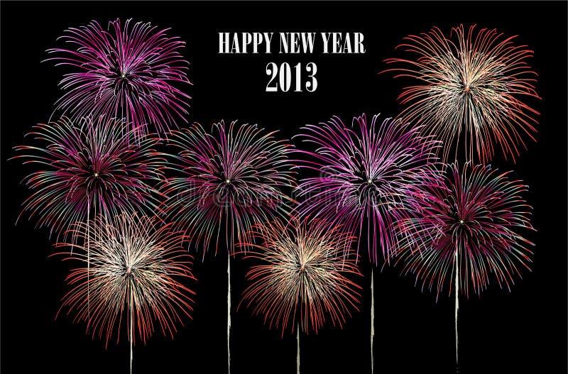 Καλή χρονιά 2013 πυροτεχνήματα ελεύθερη απεικόνιση δικαιώματος