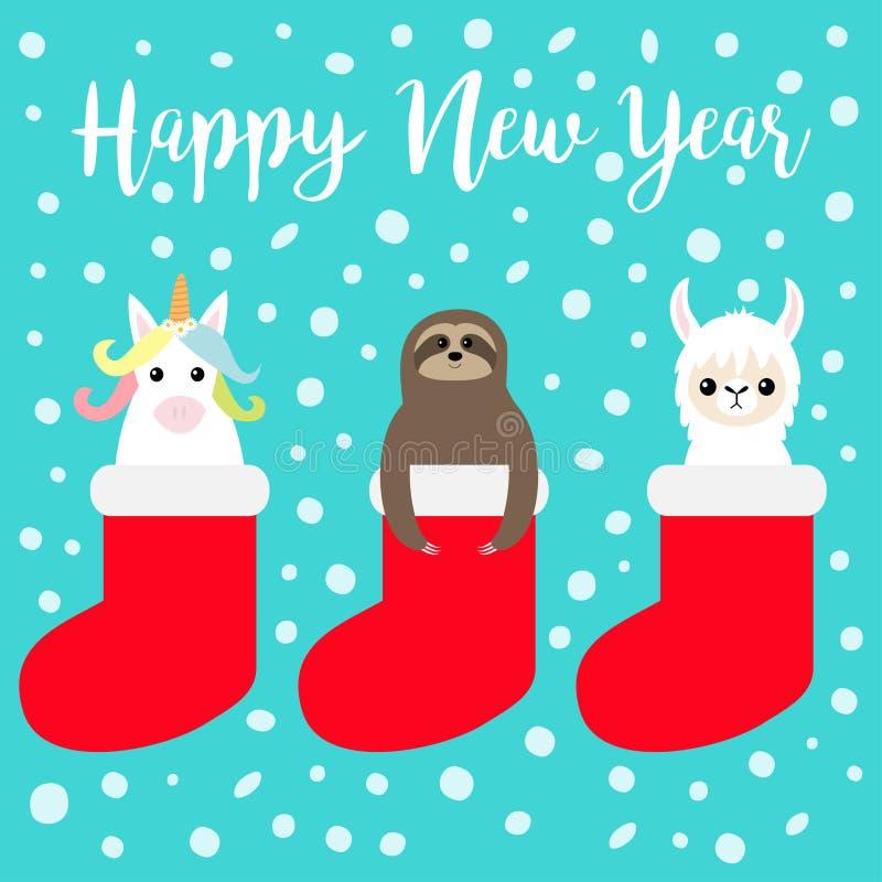 καλή χρονιά Llama προβατοκάμηλος, νωθρότητα, μονόκερος στην κόκκινη κάλτσα Νιφάδα χιονιού Χριστούγεννα εύθυμα Χαριτωμένος χαρακτή απεικόνιση αποθεμάτων