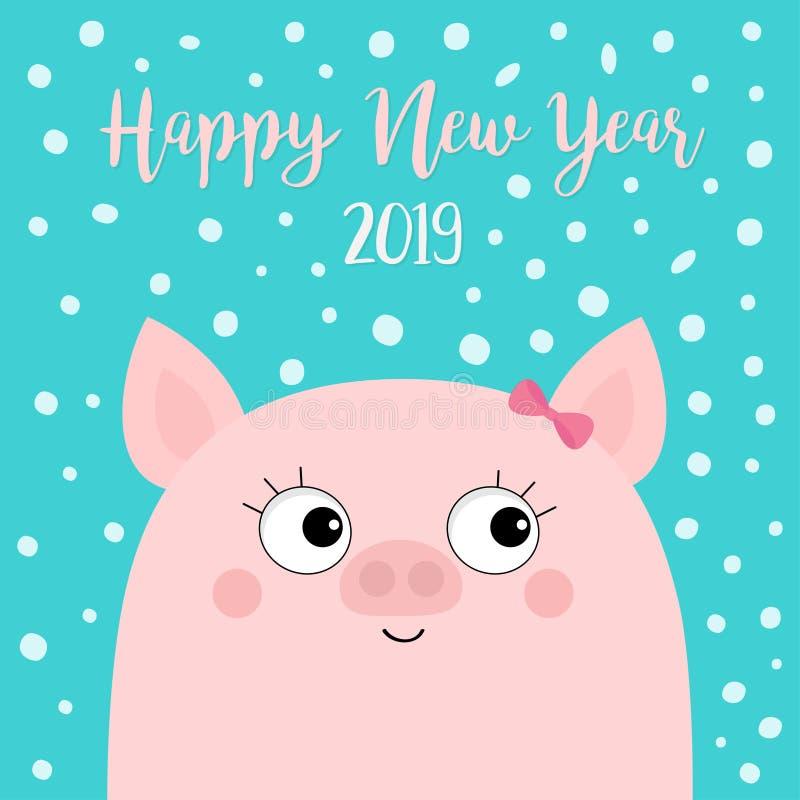Καλή χρονιά 2019 Piggy κεφάλι προσώπου κοριτσιών χοιριδίων χοίρων Ρόδινο τόξο Σύμβολο Chinise Νιφάδα χιονιού που πέφτει κάτω Χαρι διανυσματική απεικόνιση