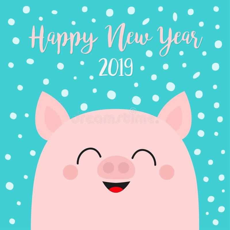 Καλή χρονιά 2019 Piggy κεφάλι προσώπου χοιριδίων χοίρων Σύμβολο Chinise Νιφάδα χιονιού που πέφτει κάτω Χαριτωμένος αστείος χαρακτ απεικόνιση αποθεμάτων