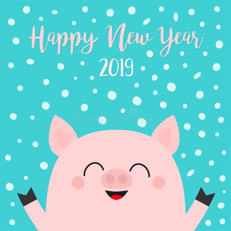 Καλή χρονιά 2019 Piggy κεφάλι προσώπου χοιριδίων χοίρων χέρια επάνω Σύμβολο Chinise Νιφάδα χιονιού που πέφτει κάτω Χαριτωμένος ασ διανυσματική απεικόνιση