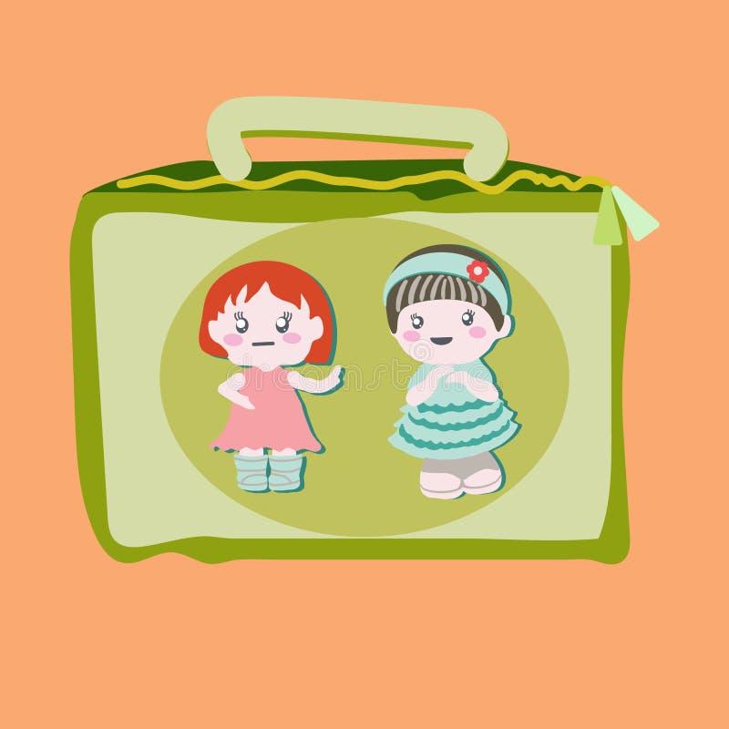 Καλαθάκι με φαγητό με τις χαριτωμένες κούκλες μωρών απεικόνιση αποθεμάτων