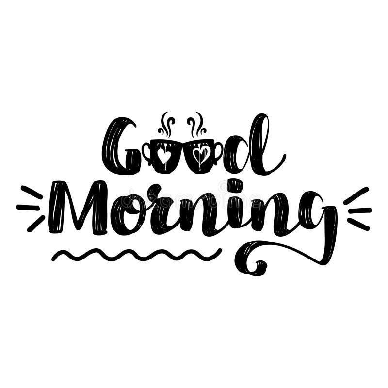 Καλημέρα - εμπνευσμένο σχέδιο εγγραφής διανυσματική απεικόνιση