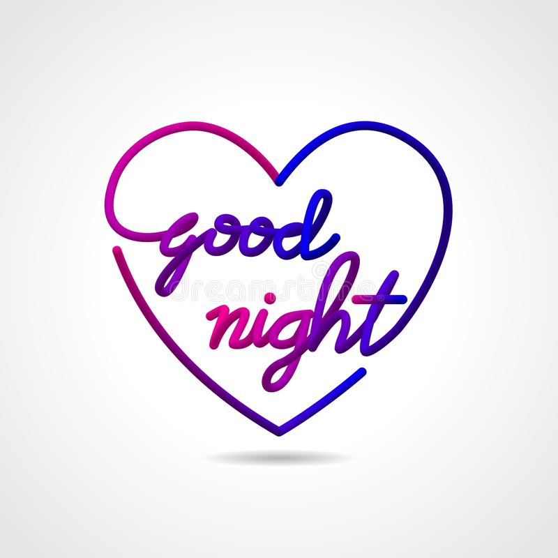 Καληνύχτα, όμορφη ρεαλιστική εγγραφής ερωτευμένη μορφή σχεδίου ευχετήριων καρτών διανυσματική διανυσματική απεικόνιση