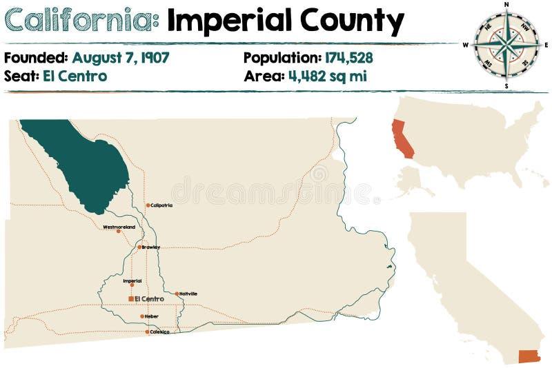 Καλιφόρνια: Αυτοκρατορικός χάρτης νομών διανυσματική απεικόνιση