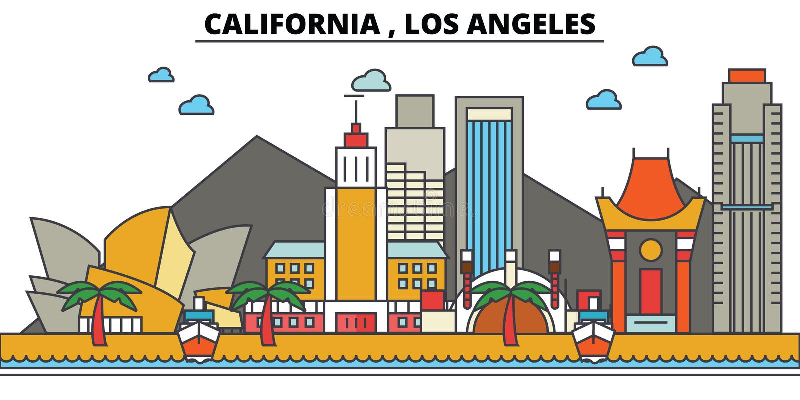 Καλιφόρνια, Λος Άντζελες διάνυσμα οριζόντων σχεδίου πόλεων ανασκόπησής σας ελεύθερη απεικόνιση δικαιώματος