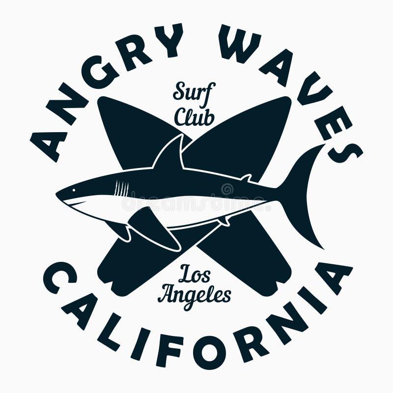 Καλιφόρνια, Λος Άντζελες - τυπογραφία για τα ενδύματα σχεδίου, μπλούζα Γραφική τυπωμένη ύλη με τον καρχαρία και την ιστιοσανίδα Ε διανυσματική απεικόνιση