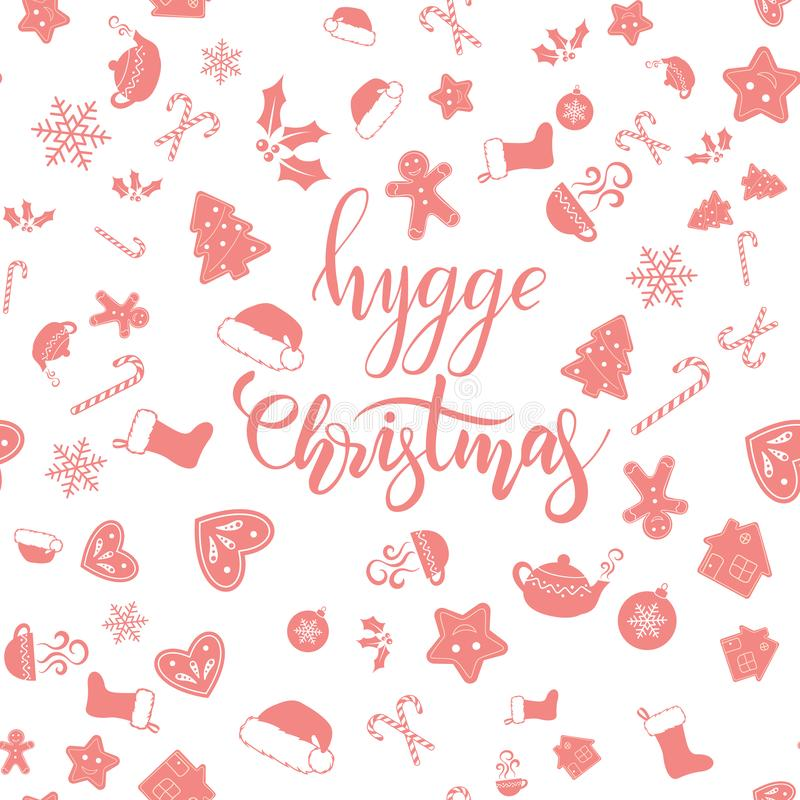 Καλλιγραφία βουρτσών Χριστουγέννων Hygge ελεύθερη απεικόνιση δικαιώματος