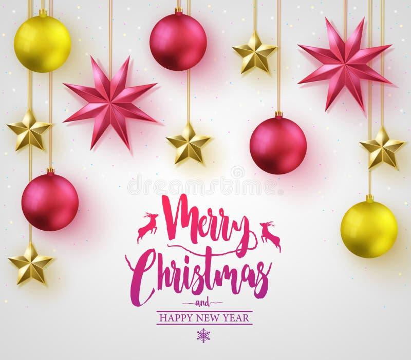Καλλιγραφία Χαρούμενα Χριστούγεννας με τις απλές τρισδιάστατες διαφορετικές χρωματισμένες σφαίρες Χριστουγέννων απεικόνιση αποθεμάτων