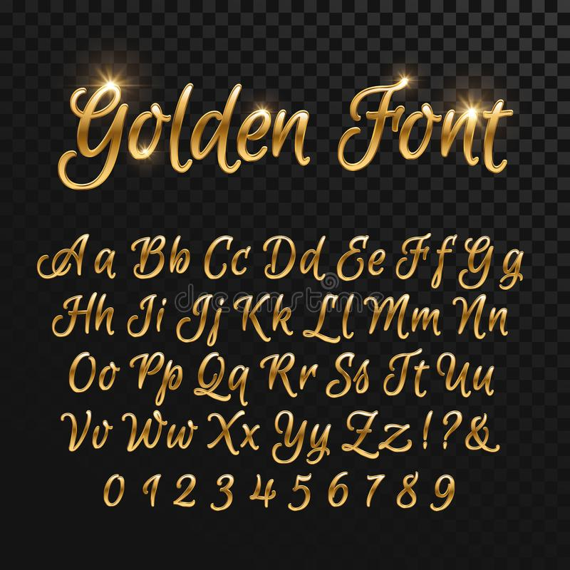 Καλλιγραφικές χρυσές επιστολές Εκλεκτής ποιότητας κομψή χρυσή πηγή Διανυσματικό χειρόγραφο πολυτέλειας ελεύθερη απεικόνιση δικαιώματος