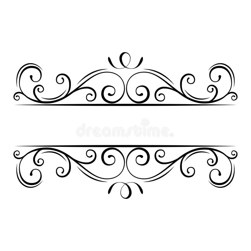 Καλλιγραφικός ακμάστε το πλαίσιο διακοσμητικός περίκομψ&omicr Οι στρόβιλοι, μπούκλες, τυλίγουν τα filigree στοιχεία σχεδίου διάνυ διανυσματική απεικόνιση