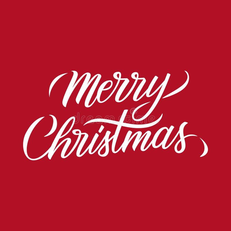 Καλλιγραφικό σχέδιο κειμένων εγγραφής Χαρούμενα Χριστούγεννας στο κόκκινο υπόβαθρο Δημιουργική τυπογραφία για τους χαιρετισμούς δ διανυσματική απεικόνιση