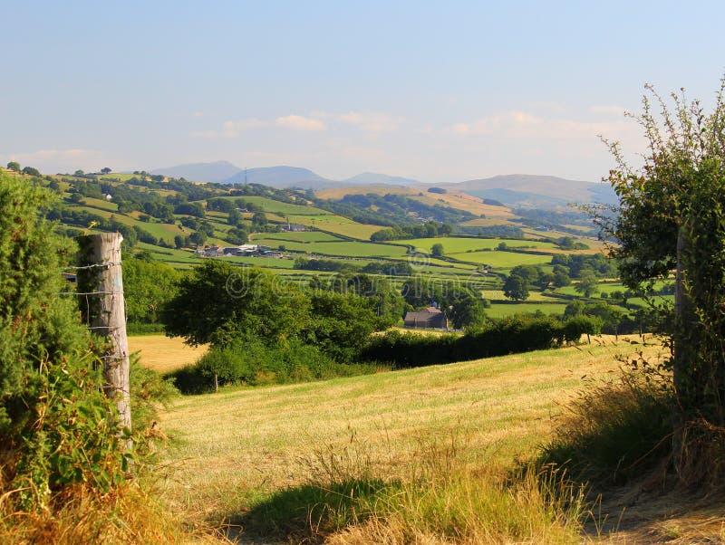 Καλλιεργήσιμο έδαφος, πολύβλαστος και εύφορος, ηλιόλουστο, με το σκηνικό βουνών στοκ εικόνα