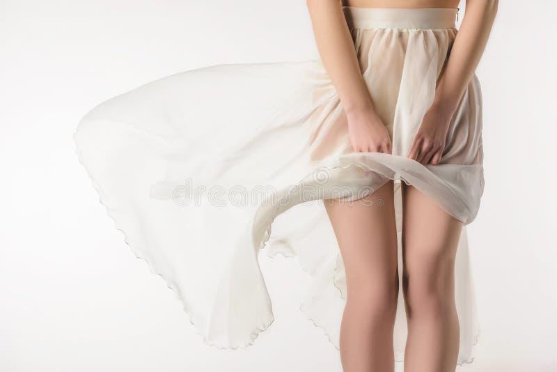 καλλιεργημένη άποψη του αισθησιακού κοριτσιού στη διαφανή κυματίζοντας φούστα, στοκ φωτογραφία με δικαίωμα ελεύθερης χρήσης