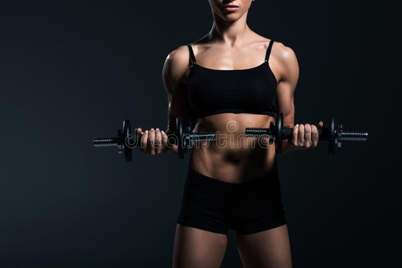 καλλιεργημένη άποψη του θηλυκού bodybuilder που επιλύει με τους αλτήρες στοκ εικόνες