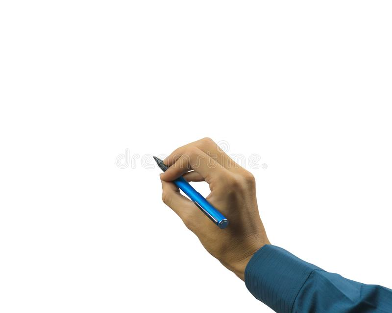 Καλλιεργημένος του χεριού επιχειρηματιών που γράφει στο άσπρο υπόβαθρο Προσεκτικά αποκόπτει από το εργαλείο μανδρών και παρεμβάλτ στοκ φωτογραφία με δικαίωμα ελεύθερης χρήσης