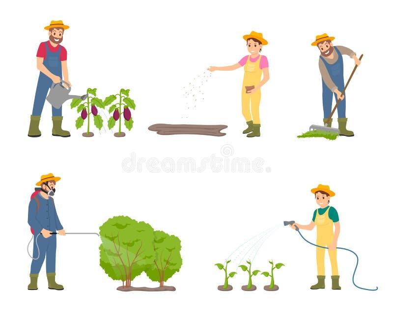 Καλλιεργώντας άνθρωποι με τη διανυσματική απεικόνιση ψεκαστήρων διανυσματική απεικόνιση