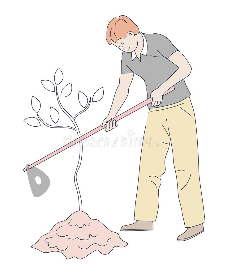 Καλλιεργώντας πρόσωπο που χρησιμοποιεί το φτυάρι που καλλιεργεί το έδαφος γύρω από το δέντρο διανυσματική απεικόνιση