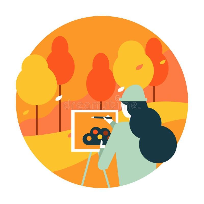 Καλλιτέχνης γυναικών που χρωματίζει ένα τοπίο φθινοπώρου διανυσματική απεικόνιση