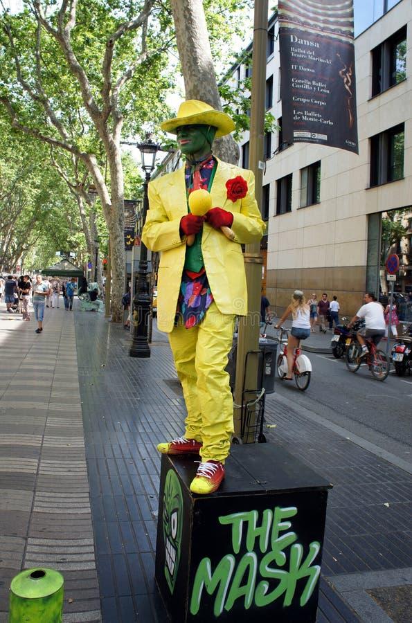 Καλλιτέχνης οδών σε Ramblas στη Βαρκελώνη, Ισπανία στοκ φωτογραφίες