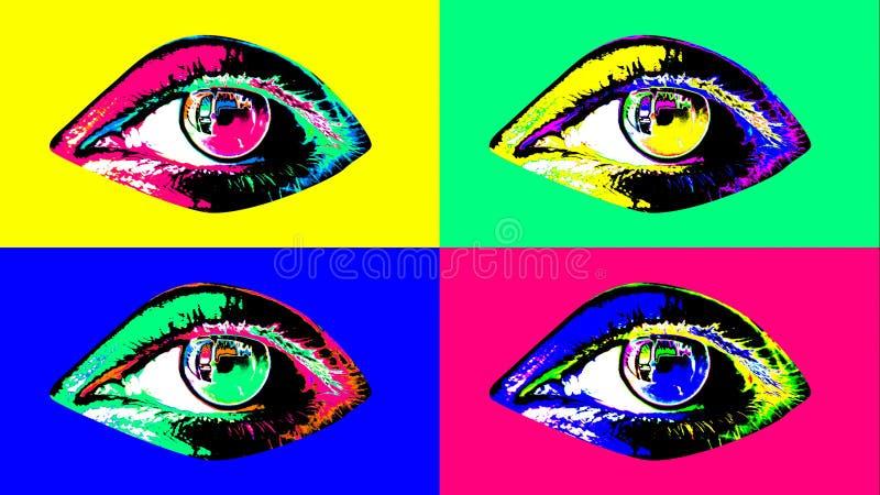 Καλλιτεχνίζοντα τέσσερα πολύχρωμα θηλυκά ανθρώπινα μάτια διανυσματική απεικόνιση
