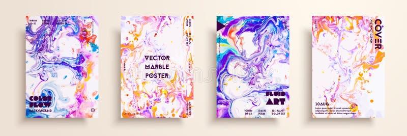 Καλλιτεχνικές συστάσεις για το ψηφιακό σχέδιο Ρευστά υπόβαθρα χρωμάτων Σύνολο διανυσματικών καρτών για τις ταυτότητες εμπορικών σ απεικόνιση αποθεμάτων