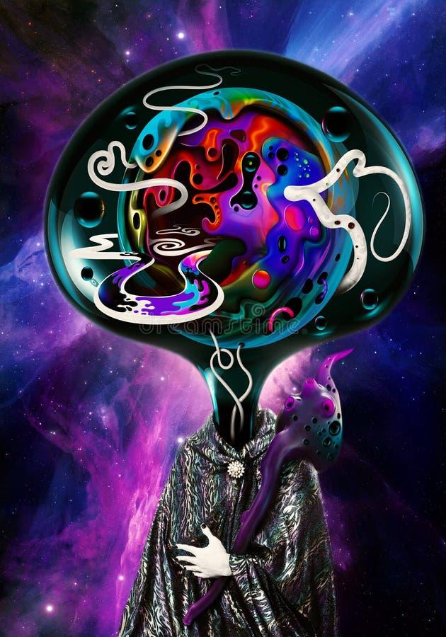Καλλιτεχνική αφηρημένη απεικόνιση ενός αλλοδαπού με το πολύχρωμο κεφάλι σε ένα ζωηρόχρωμο υπόβαθρο γαλαξιών νεφελώματος διανυσματική απεικόνιση