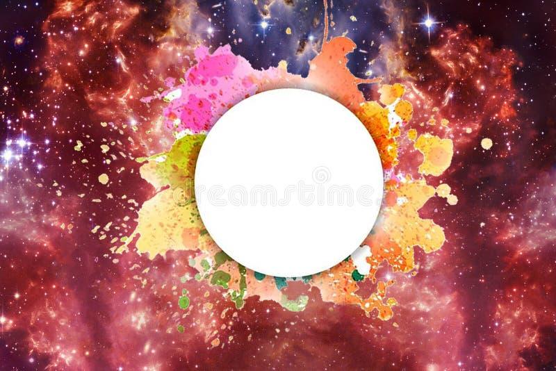 Καλλιτεχνικός αφηρημένος γαλαξιακός πολύχρωμος γαλαξίας νεφελώματος κάτω από Placeholder για ένα κείμενο διανυσματική απεικόνιση
