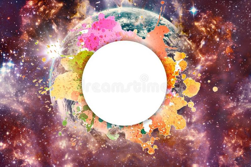 Καλλιτεχνικός αφηρημένος γαλαξιακός πολύχρωμος γαλαξίας νεφελώματος με τη γη σε το και Placeholder για ένα κείμενο ελεύθερη απεικόνιση δικαιώματος