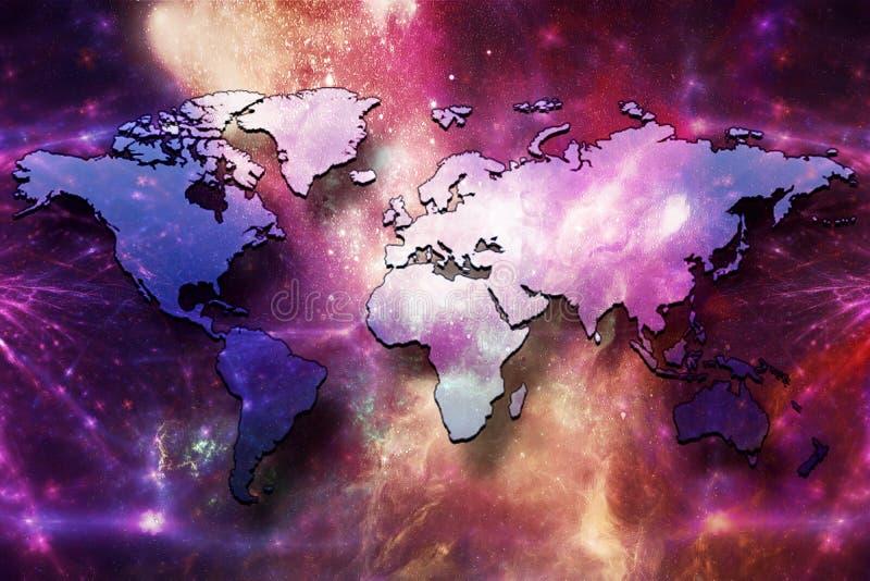 Καλλιτεχνικός αφηρημένος πολύχρωμος παγκόσμιος χάρτης σε ένα ομαλό γαλαξιακό υπόβαθρο νεφελώματος ελεύθερη απεικόνιση δικαιώματος