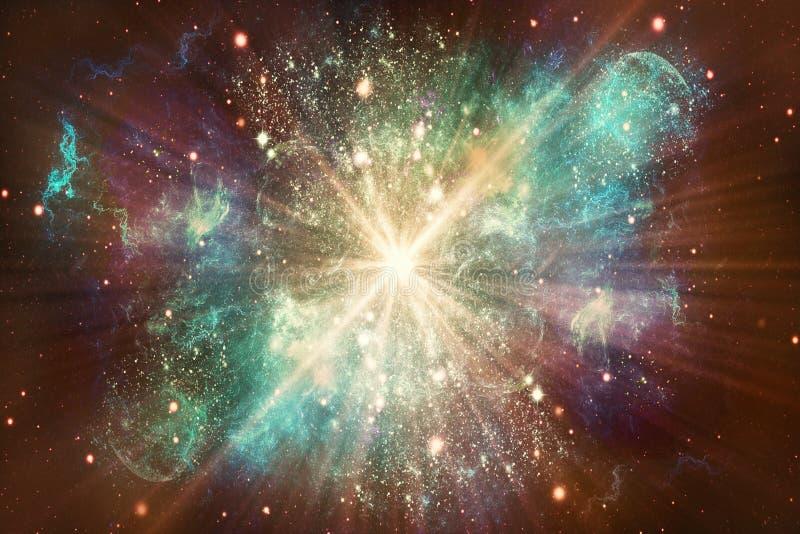 Καλλιτεχνικός ονειροπόλος αφηρημένος πολύχρωμος καμμένος γαλαξίας με ένα αστέρι στο κεντρικό έργο τέχνης διανυσματική απεικόνιση