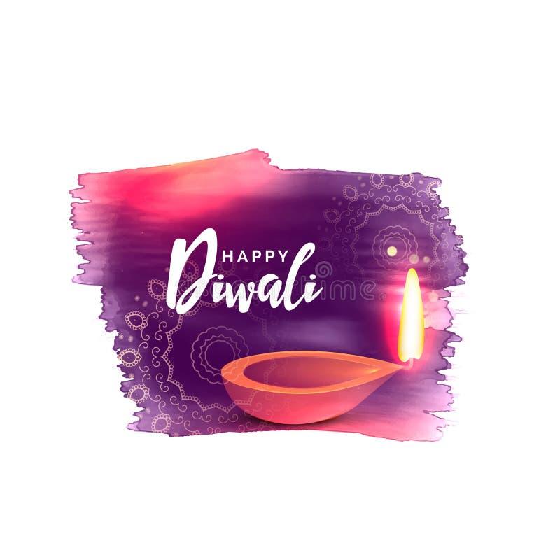 Καλλιτεχνικό ευτυχές υπόβαθρο φεστιβάλ diwali με την επίδραση watercolor ελεύθερη απεικόνιση δικαιώματος