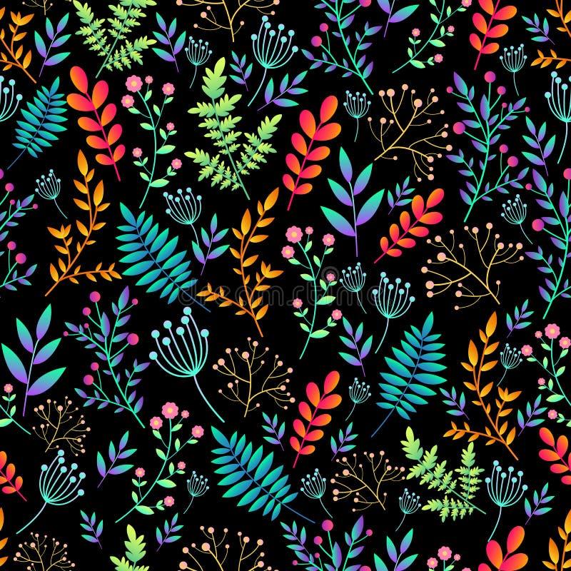 Καλλιτεχνικό ζωηρόχρωμο άνευ ραφής floral σχέδιο λουλουδιών τομέων άγριο Psychedelic λουλούδια και εγκαταστάσεις, φωτεινά χρώματα διανυσματική απεικόνιση