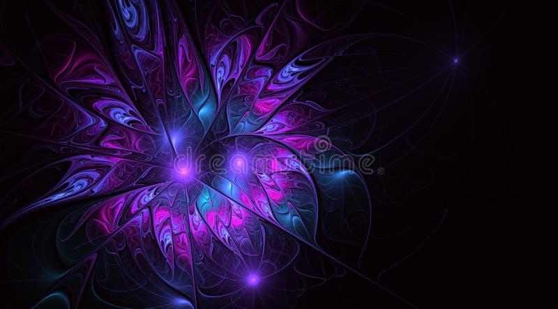 Καλλιτεχνικό λουλούδι φαντασίας με την επίδραση φωτισμού διανυσματική απεικόνιση
