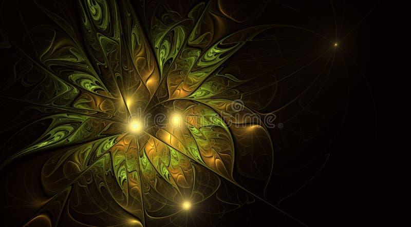 Καλλιτεχνικό λουλούδι φαντασίας με την επίδραση φωτισμού Όμορφο αντικνήμιο Φουτουριστική άνθιση απεικόνιση αποθεμάτων
