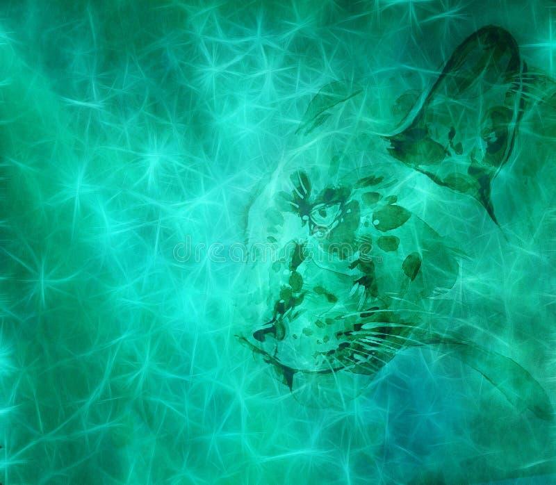 Καλλιτεχνικό ψηφιακό ζώο σε ένα ομιχλώδες ζωηρόχρωμο υπόβαθρο διανυσματική απεικόνιση