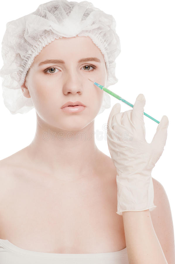 Καλλυντική έγχυση botox στο πρόσωπο στοκ εικόνα με δικαίωμα ελεύθερης χρήσης
