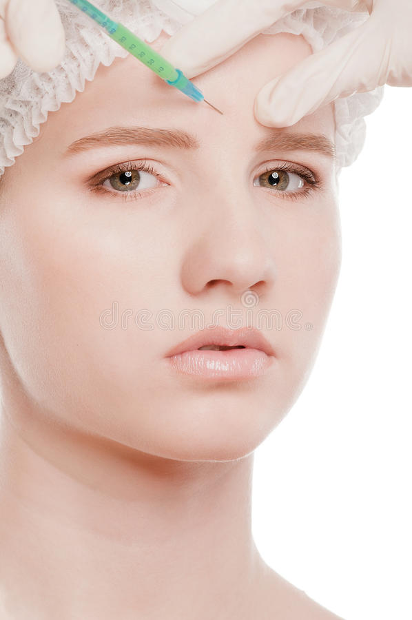 Καλλυντική έγχυση botox στο πρόσωπο στοκ φωτογραφία με δικαίωμα ελεύθερης χρήσης