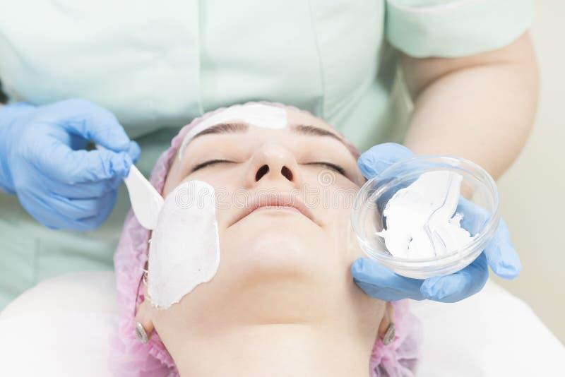 Καλλυντική μάσκα διαδικασίας του μασάζ και των facials στοκ φωτογραφίες με δικαίωμα ελεύθερης χρήσης
