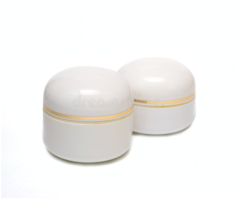 καλλυντικό απομονωμένο κρέμα λευκό βάζων στοκ φωτογραφία