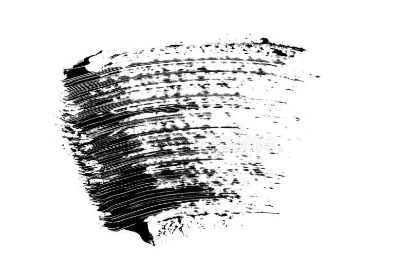 Καλλυντικό μαύρο mascara eyelashes δείγμα κτυπήματος βουρτσών, που απομονώνεται στο άσπρο υπόβαθρο στοκ εικόνα