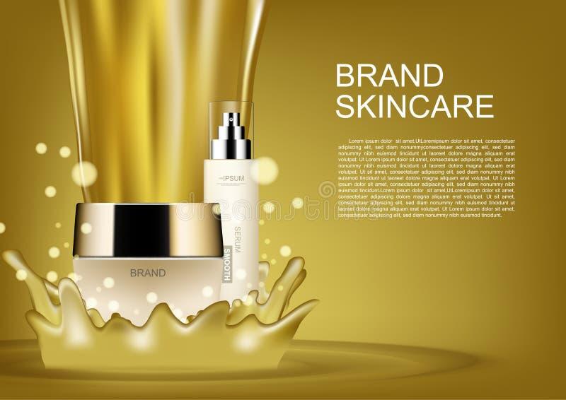 Καλλυντικό ομορφιάς που τίθεται με την έκχυση των χρυσών διανυσματικών καλλυντικών αγγελιών ελεύθερη απεικόνιση δικαιώματος