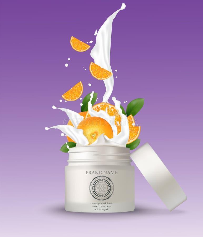 Καλλυντικό πλαστικό βάζο με το πορτοκαλί ράντισμα κρέμας Απομονωμένο λευκό διανυσματική απεικόνιση