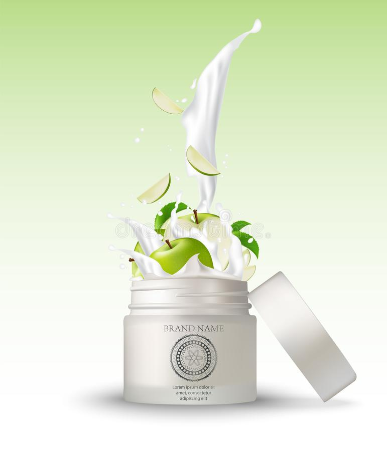 Καλλυντικό πλαστικό βάζο με το πράσινο ράντισμα κρέμας μήλων απεικόνιση αποθεμάτων