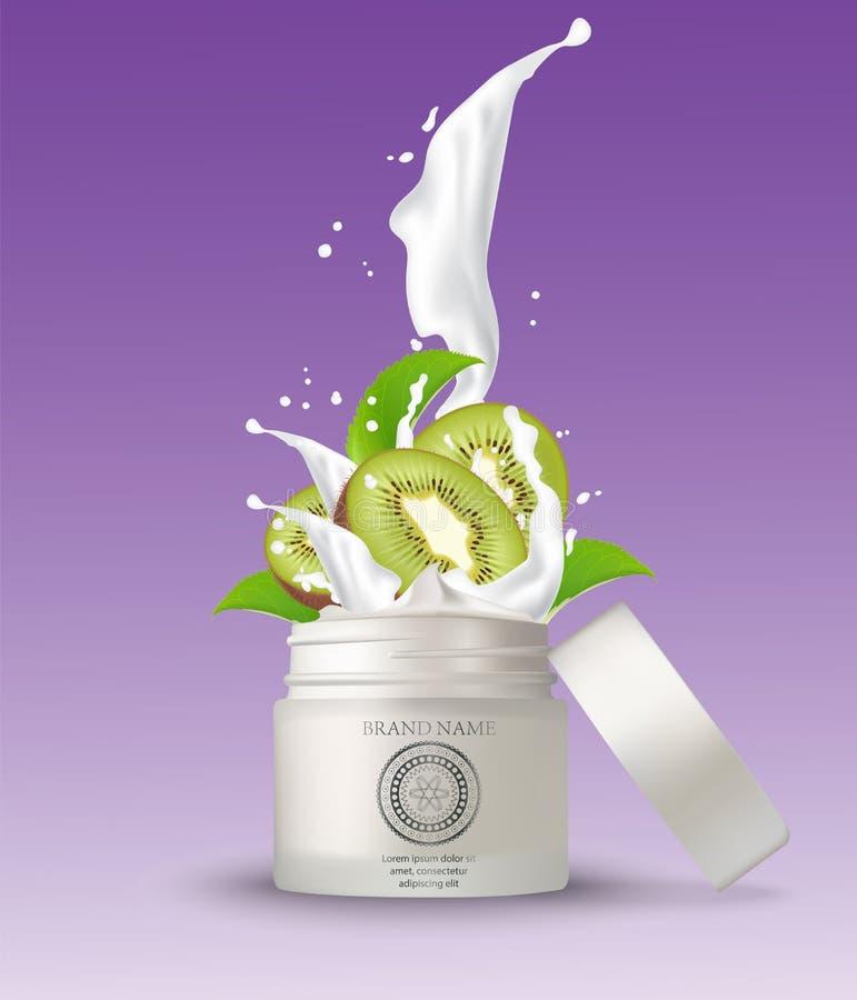 Καλλυντικό πλαστικό βάζο με το ράντισμα κρέμας ακτινίδιων Άσπρο β διανυσματική απεικόνιση