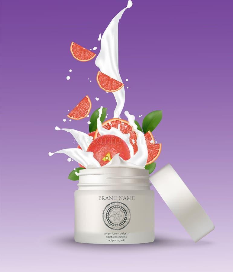 Καλλυντικό πλαστικό βάζο με το ράντισμα κρέμας γκρέιπφρουτ Απομονωμένο W ελεύθερη απεικόνιση δικαιώματος