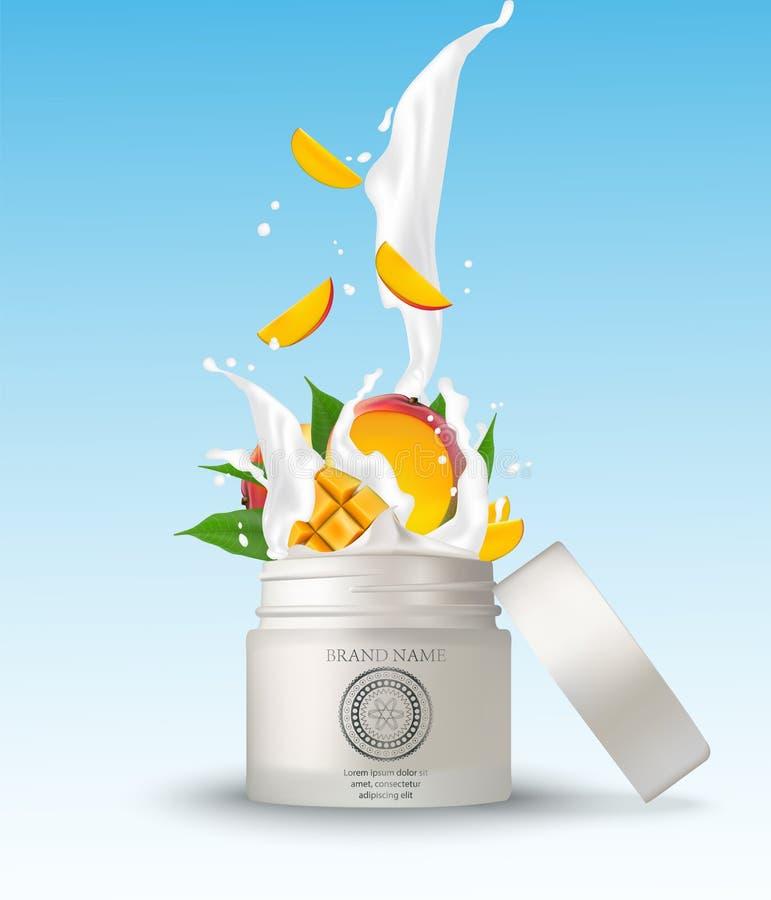 Καλλυντικό πλαστικό βάζο με το ράντισμα κρέμας μάγκο άσπρος ελεύθερη απεικόνιση δικαιώματος